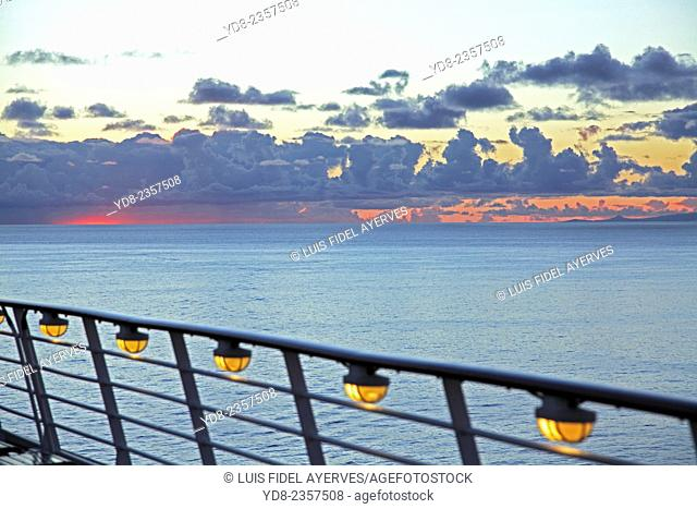 Deck railing of a cruise company Royal Caribbean