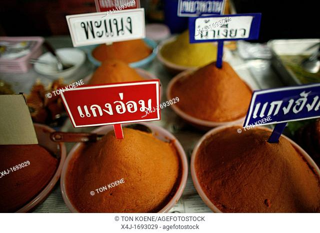 Spices for sale at a local market near the Longneck village Approximately 300 Burmese refugees in Thailand are members of the indigenous group known as the...
