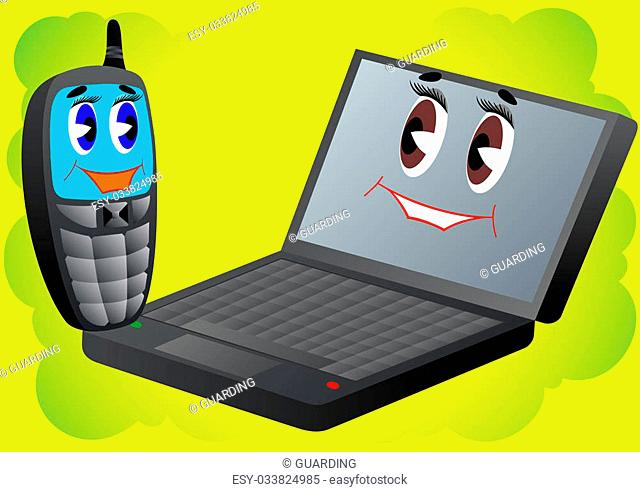 Animated characters. Cell phone and laptop on an abstract background