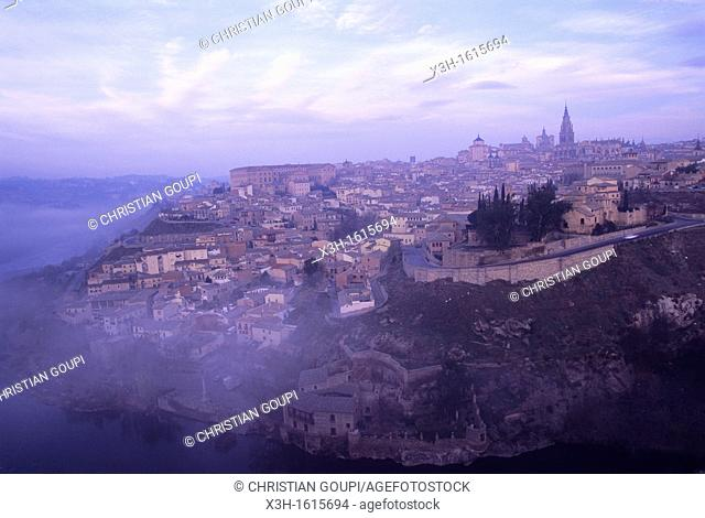 overview of Toledo above the Tagus river, autonomous community Castile-La Mancha, Spain, Europe