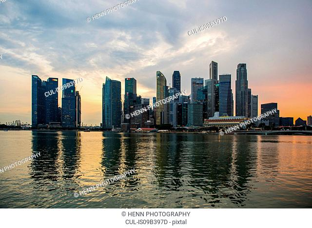 Skyline of Singapore, at sunset