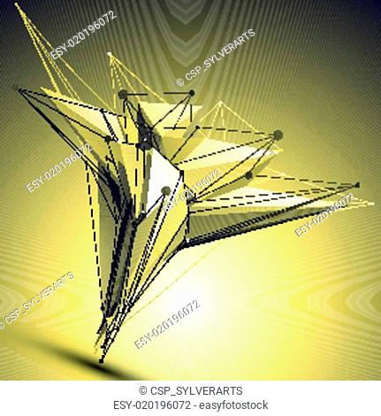 Complicated abstract gold 3D illust