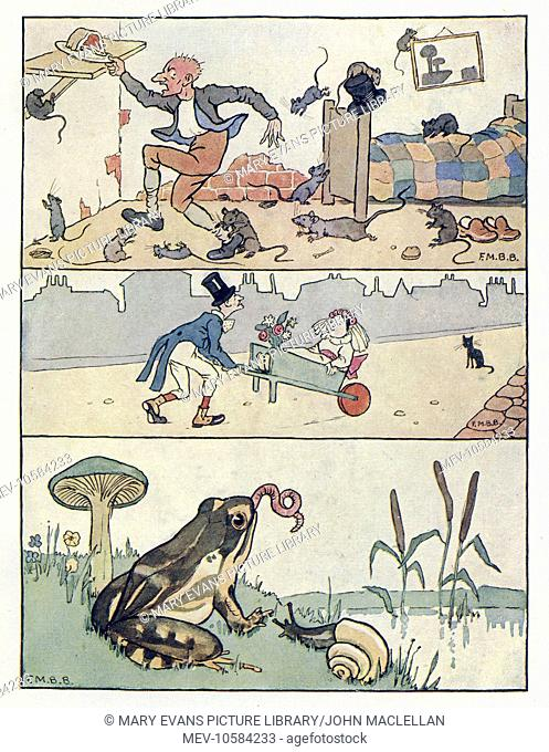 Nursery Rhymes -- three illustrations. A man in a room full of mice reaches for a plate of meat on a shelf. A bridegroom wheels his bride along the road in a...