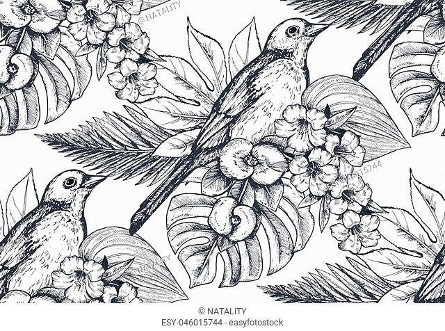 Vector seamless pattern with compositions of hand drawn tropical flowers, palm leaves, jungle plants, paradise bouquet with exotic birds