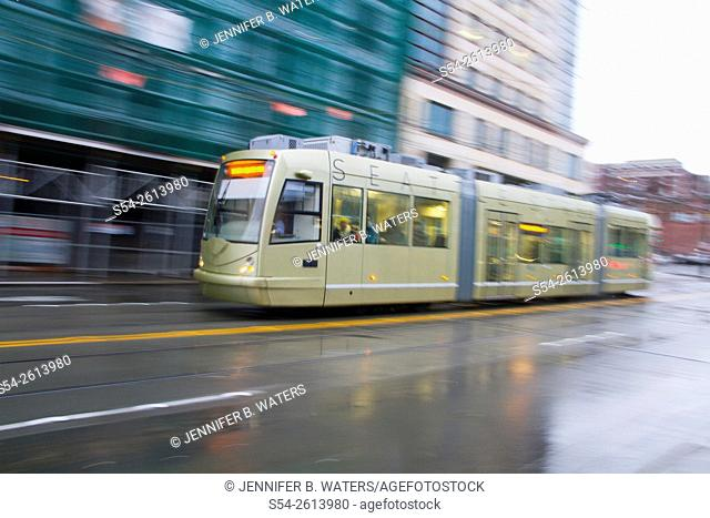 The First Hill streetcar in the International District, Seattle, Washington, USA