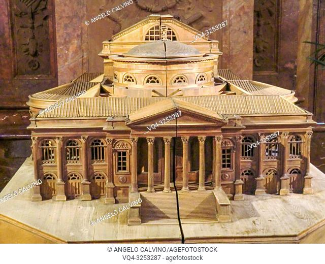 Wooden Model of The Teatro Massimo in Palermo, 3200 seats, is Italy's largest and Europe's third largest opera house. It was built in the style of historicism...