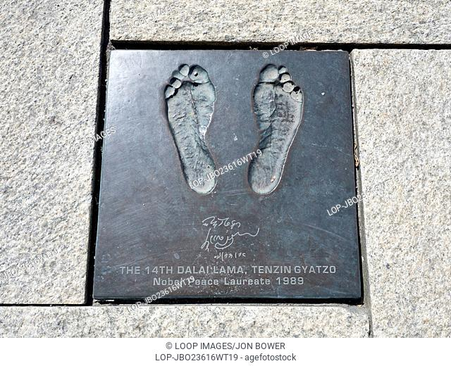 The footprints of His Excellency the 14th Dalai Lama Tensin Gyatso embedded in the area around Stavanger Harbour in Norway
