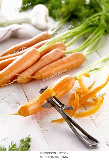 Fresh carrots and carrot peel