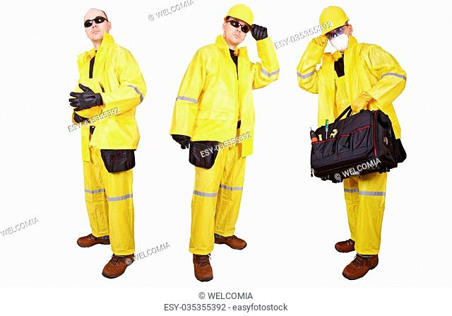 Contractor Isolated on White. Three Contractors in Yellow Rain Suit Isolated on White. Construction Business