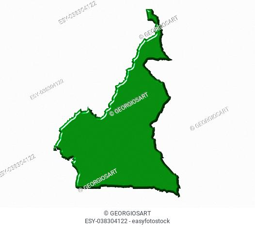 Cameroon 3d map with national color isolated in white