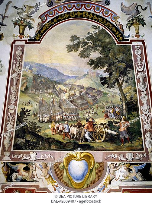 Battle scene and grotesques, detail from a fresco by Ludovico Buti (1560-1610). Vault of Room 22, Armory, Uffizi Palace, Florence. Italy, 16th century