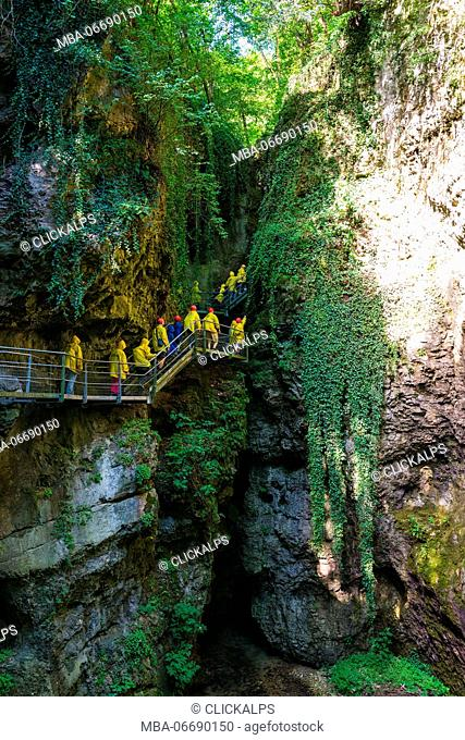 Italy, Trentino Alto Adige, Non valley, hikers in Rio Sass Canyon