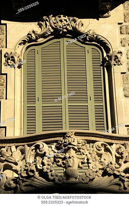 Window and shutters. Rambla Catalunya, Barcelona, Catalonia, Spain
