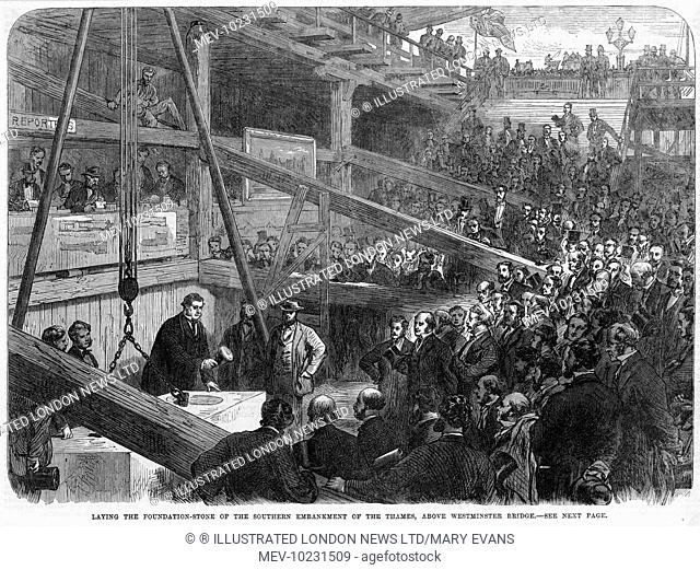 Laying the foundation stone of the southern section of the Thames Embankment above Westminster Bridge