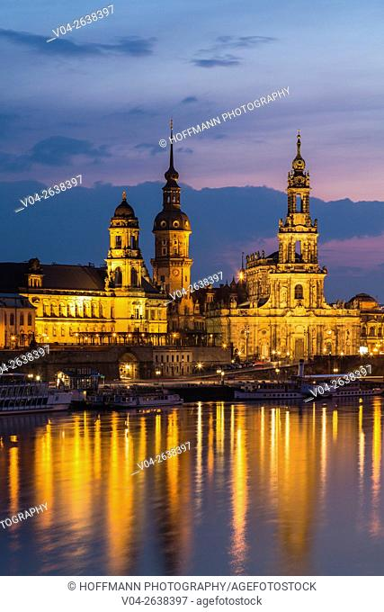 View of the Brühl Terrace with Hausmann Tower and Hofkirche and the river Elbe in the foreground at twilight, Dresden, Saxony, Germany, Europe