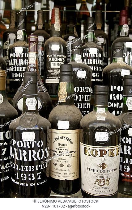 Porto wine bottles on display at shop. Lisbon, Portugal