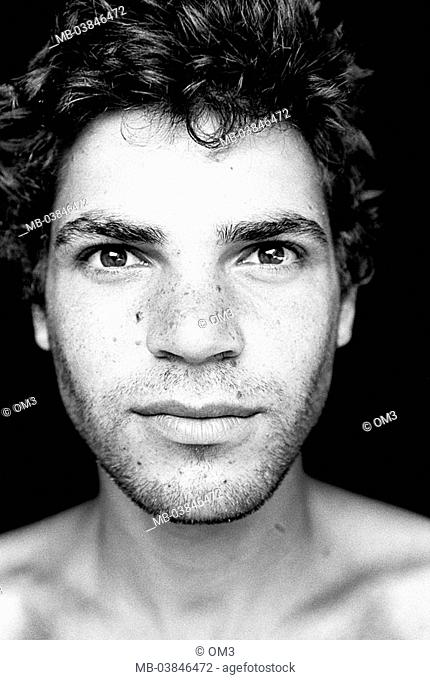 Climbers, Nate gold, portrait, s/w, broached, personality-rights, series, heed people, men's-portrait man young, seriously, gaze camera, upper bodies freely