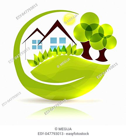 Beautiful house and garden in the leaf shape, green garden and trees with glow