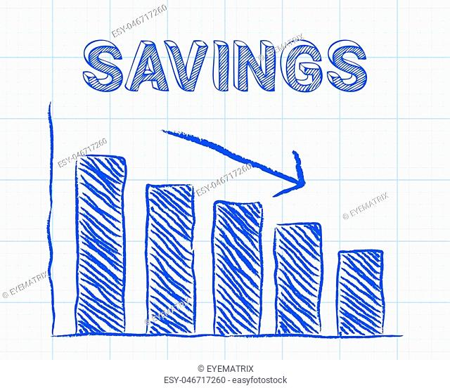 Decreasing graph and savings word on graph paper background
