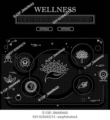 line drawing of concept of wellness vector graphic in black and white