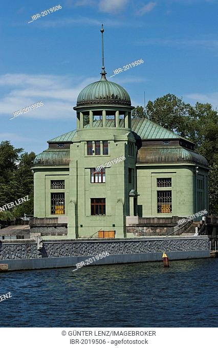Hydro-electric power plant on the Vitava River, the building is a replica of the building which survived the atomic bomb blast in Hiroshima, Prague, Bohemia