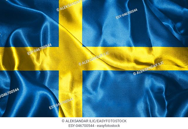 Sweden National Flag Waving in The Wind Illustration
