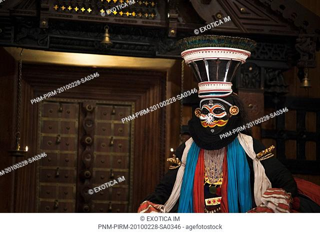 Man performing Kathakali dance, Kochi, Kerala, India