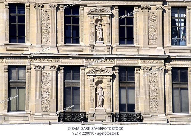 Sculpted facade of the Louvre Museum, Paris, France