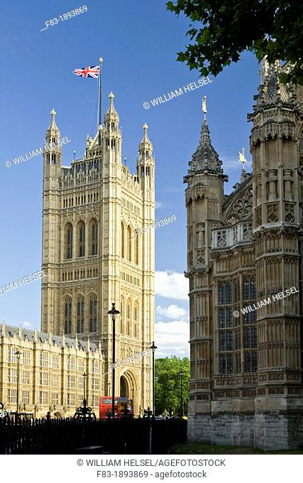 Victoria Tower, Houses of Parliament left, and Westminster Abbey right, double-deck bus, Westminster, London, England