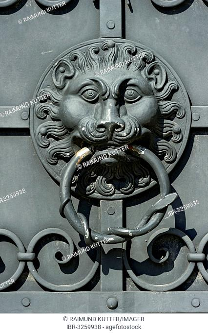 Wrought iron door knocker, lion head, outer wall, Bavarian National Museum, Bayerisches Nationalmuseum