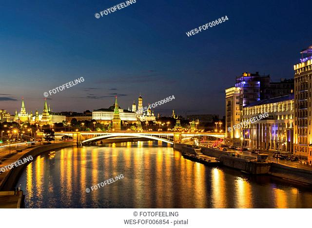 Russia, Moscow, View of the Kremlin with its towers