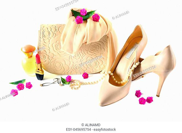 Ladies bag, shoes, jewelry, cosmetics and perfumes isolated on white background. Elegant set of accessory for women
