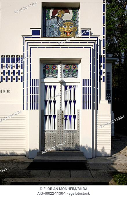 White art nouveau doorway with head of Medusa window, designed by Moser, on art nouveau second villa of Otto Wagner, 1912-13, Vienna, Austria