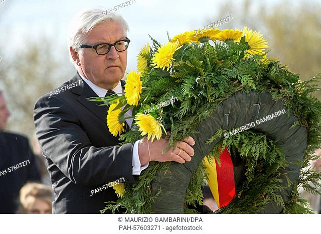 Federal Minister of Foreign Affairs Frank-Walter Steinmeier lays a wreath in commemoration of the 70th anniversary of the liberation of the Sachsenhausen...