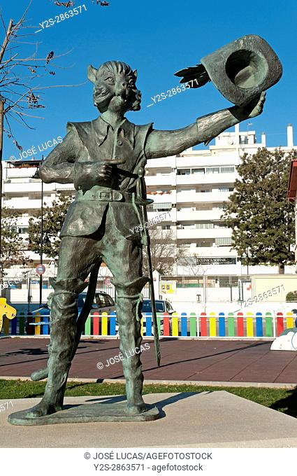 Statue of the Puss in Boots, Fantasy Park, Fuengirola, Malaga province, Region of Andalusia, Spain, Europe