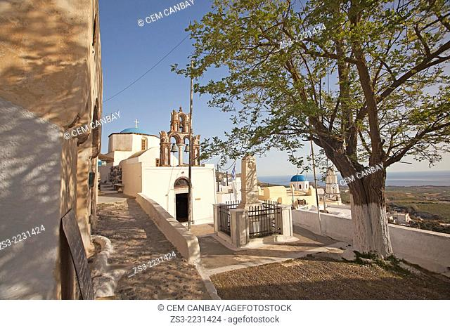 Blue domed churches with bell tower in the old town, Pyrgos, Santorini, Cyclades Islands, Greek Islands, Greece, Europe