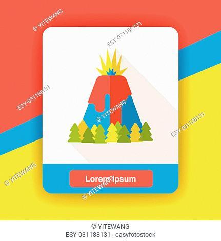 Volcano mountain flat icon
