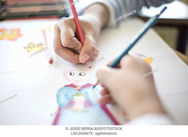 Children little artist painting hand brush colorful