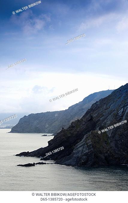 France, Languedoc-Roussillon, Pyrennes-Orientales Department, Vermillion Coast Area, Cerbere, Cap Cerbere coastline towards Spain, morning