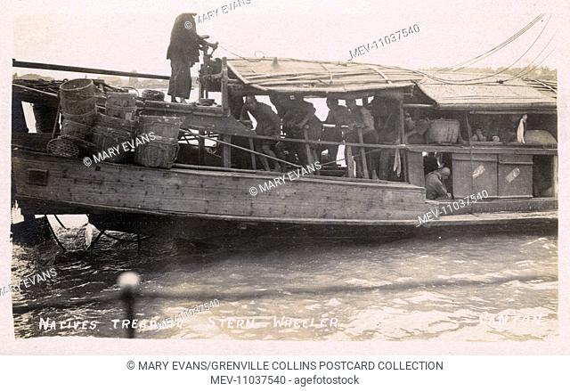 Human-powered Paddler Wheeler Ship, China - men were stationed fore and aft to tread on pedals so that (the vessels) could go forward or backwards