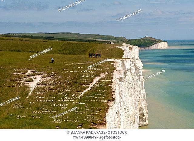 Chalk cliffs of the Seven Sisters with names of different countries, South Dawns Way, Sussex, England, UK