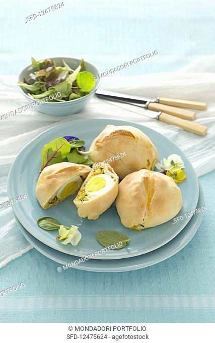 Rolls filled with baby chard and egg