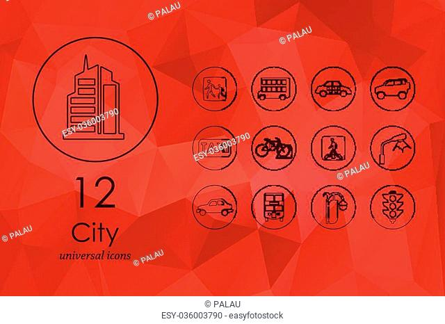 city modern icons for mobile interface on blurred background