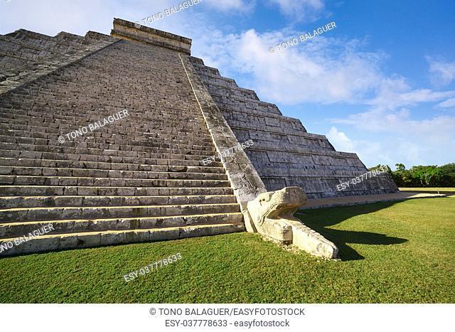 Chichen Itza pyramid snake El Templo Kukulcan temple in Mexico Yucatan
