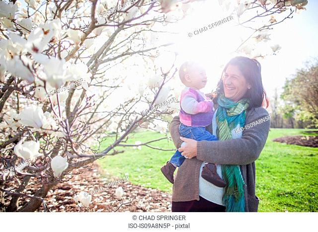Portrait of baby girl and grandmother next to magnolia blossom