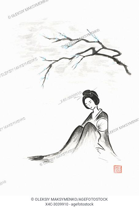 Beautiful thoughtful geisha sitting under sakura branch in the moonlight artistic oriental style illustration, Japanese Zen Sumi-e ink painting on white rice...