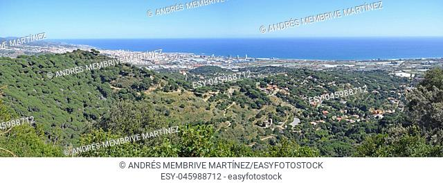 . . . Panoramic view of mountains and beaches of Maresme Barcelona