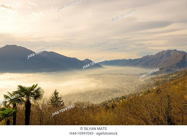 Sea of fog and mountain over Locarno in Switzerland
