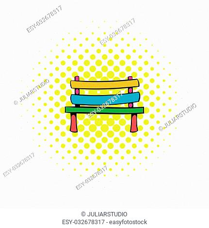 Park bench icon in comics style on a white background