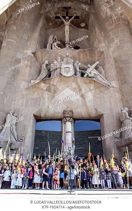 mass of Palm Sunday Passion facade,exterior of Basilica Sagrada Familia, Barcelona, Catalonia, Spain